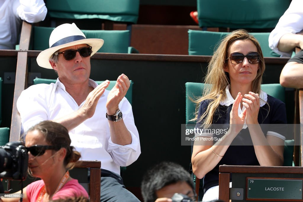 Actor Hugh Grant and his partner Anna Eberstein are spotted at Roland Garros on June 8, 2017 in Paris, France.