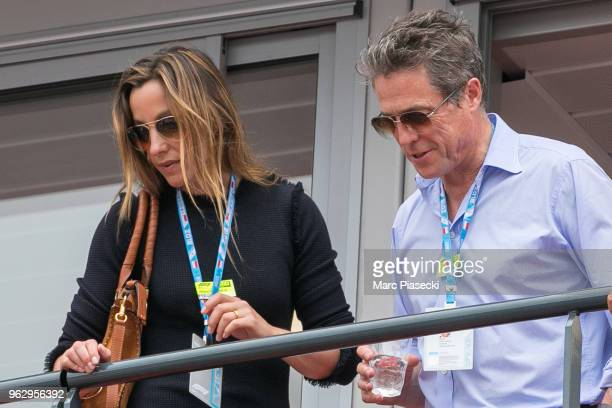 Actor Hugh Grant and wife Anna Elisabet Eberstein are seen during the Monaco Formula One Grand Prix at Circuit de Monaco on May 27 2018 in MonteCarlo...
