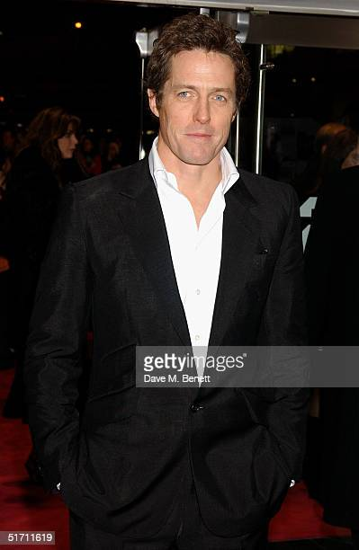 Actor Hugh Grant arrives at the UK Gala Premiere of Bridget Jones The Edge Of Reason at the Odeon Leicester Square on November 9 2004 in London
