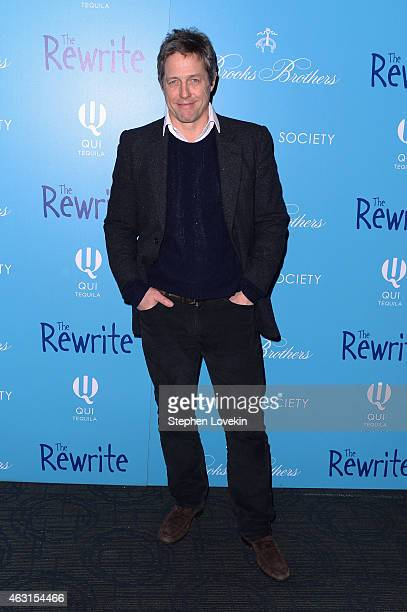 """Actor Hugh Grant attends The Cinema Society And Brooks Brothers Host A Screening Of """"The Rewrite"""" at Landmark Sunshine Cinema on February 10, 2015 in..."""