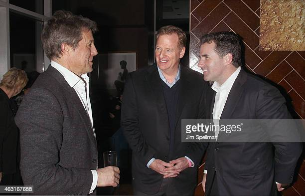Actor Hugh Grant, commissioner of the National Football League Roger Goodell and CEO and founder of Under Armour Kevin Plank attend The Cinema...