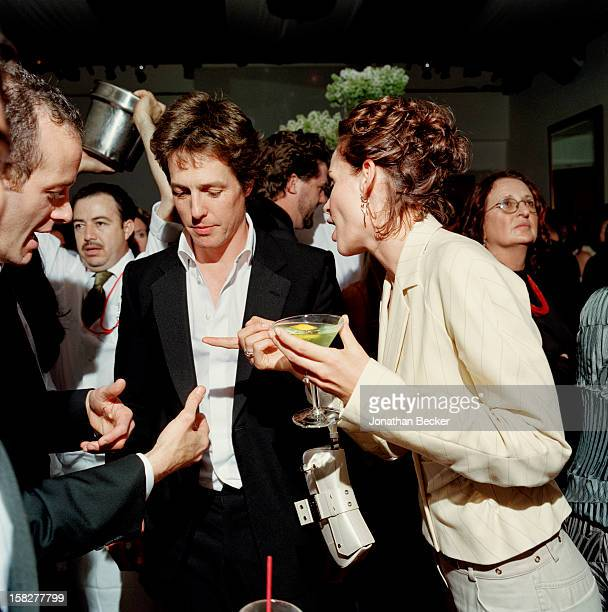 Actor Hugh Grant is photographed for Vanity Fair Magazine on March 24 2002 at the Vanity Fair Oscar Party at Morton's in West Hollywood California...