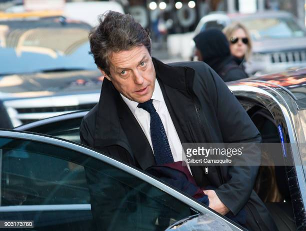 Actor Hugh Grant is seen leaving ABCs Good Morning America Studio on January 9 2018 in New York City