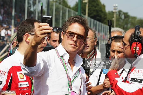 Actor Hugh Grant is seen on the grid before the Italian Formula One Grand Prix at the Autodromo Nazionale di Monza on September 12, 2010 in Monza,...