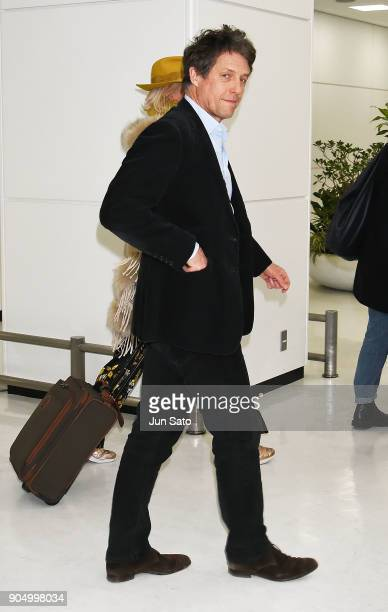 Actor Hugh Grant is seen upon arrival at Narita International Airport on January 15 2018 in Narita Japan