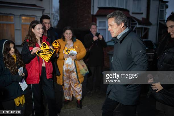 Actor Hugh Grant meets supporters and canvassers during a Liberal Democrat campaign event in Finchley on December 1 2019 in London England UK voters...