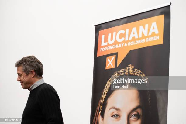 Actor Hugh Grant speaks to supporters during a Liberal Democrat campaign event for candidate Luciana Berger in Finchley on December 1 2019 in London...