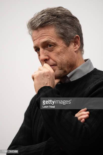 Actor Hugh Grant speaks to supporters during a Liberal Democrat campaign event for candidate Luciana Berger in Finchley on December 1, 2019 in...
