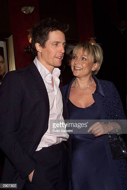 Actor Hugh Grant with Helen Fielding at the 'Bridget Jones's Diary' film premiere at the the Ziegfeld Theater in New York City Photo Evan Agostini /...