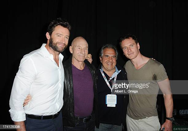 Actor Hugh Jackman actor Patrick Stewart Chairman Chief Executive Officer of Fox Filmed Entertainment Jim Gianopulos and actor Michael Fassbender...