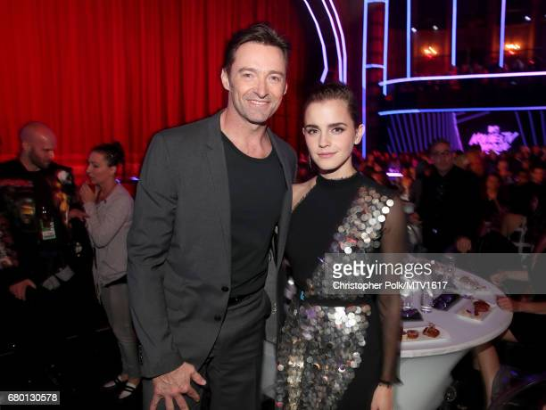 Actor Hugh Jackman and actor Emma Watson attend the 2017 MTV Movie And TV Awards at The Shrine Auditorium on May 7 2017 in Los Angeles California