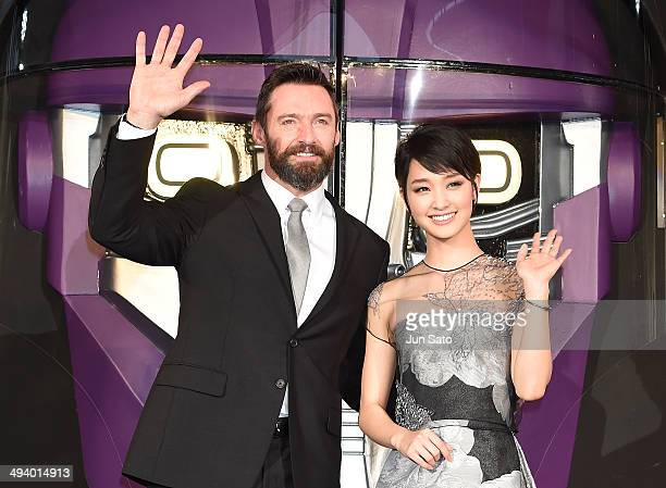 Actor Hugh Jackman and actress Ayame Goriki attend 'X-Men: Days of Future Past' premiere at Roppongi Hills Arena on May 27, 2014 in Tokyo, Japan.