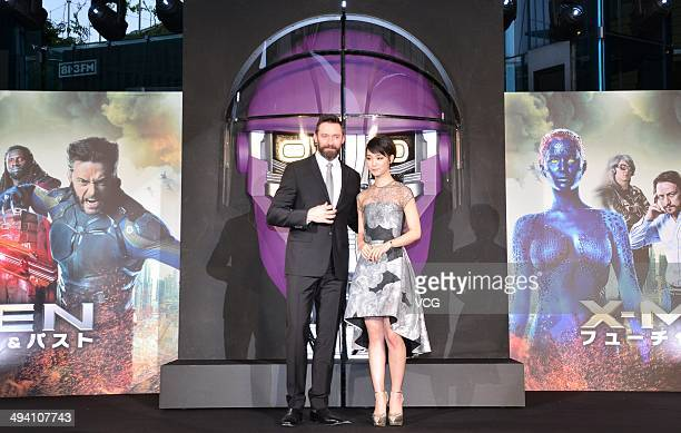 Actor Hugh Jackman and actress Ayame Goriki attend 'XMen Days of Future Past' premiere at Roppongi Hills Arena on May 27 2014 in Tokyo Japan