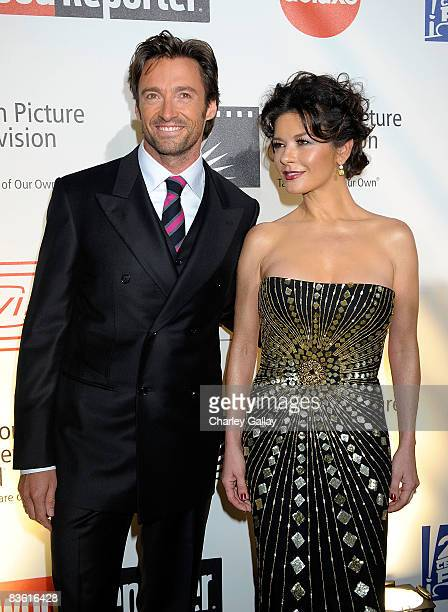 Actor Hugh Jackman and actress Catherine ZetaJones attend the 4th Annual A Fine Romance MPTV Benefit at Sony Studios on November 8 2008 in Culver...