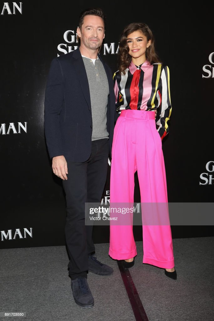 Actor Hugh Jackman and actress Zendaya attend a press conference to promote their new film 'The Greatest Showman' at Four Seasons hotel on December 13, 2017 in Mexico City, Mexico.