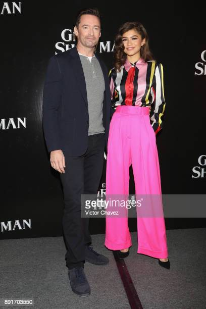 Actor Hugh Jackman and actress Zendaya attend a press conference to promote their new film 'The Greatest Showman' at Four Seasons hotel on December...