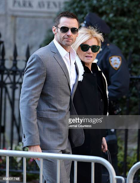 Actor Hugh Jackman and Deborah Furness attend the funeral of fashion designer Oscar De La Renta at St Ignatius Of Loyola on November 3 2014 in New...
