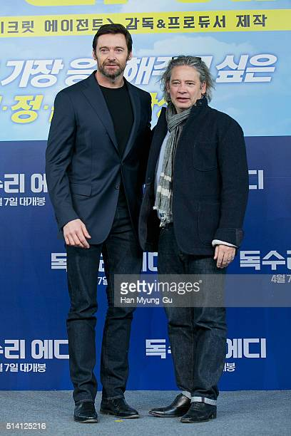 Actor Hugh Jackman and director Dexter Fletcher attend the press conference for 'Eddie The Eagle' on March 7 2016 in Seoul South Korea Hugh Jackman...