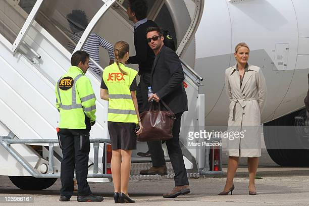 Actor Hugh Jackman and his son Oscar Maximilian Jackman are sighted at 'Le Bourget' airport on September 7 2011 in Paris France