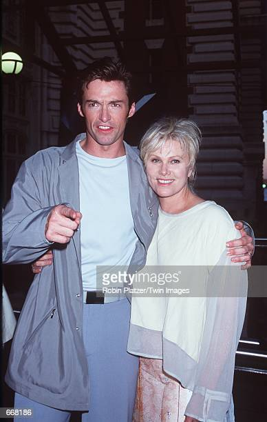 """Actor Hugh Jackman and his wife Debora Lee attend the premiere of the new movie """"X-Men"""" July 12, 2000 at Ellis Island, NY."""
