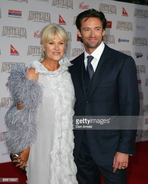 Actor Hugh Jackman and his wife DeborahLee Furness arrive for the world premiere of Australia at the George Street Greater Union Cinemas on November...