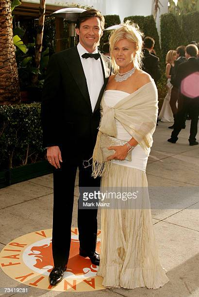 Actor Hugh Jackman and his wife Deborra-Lee Furess arrive at the 2007 Vanity Fair Oscar Party at Mortons on February 25, 2007 in West Hollywood,...