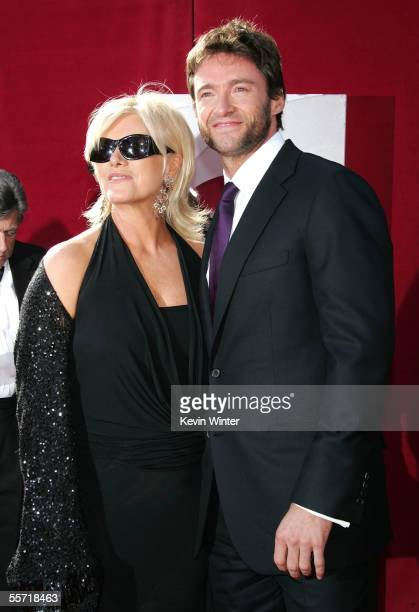 Actor Hugh Jackman and his wife Deborra-Lee Furness arrive at the 57th Annual Emmy Awards held at the Shrine Auditorium on September 18, 2005 in Los...