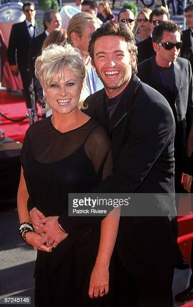 Actor Hugh Jackman and his wife DeborraLee Furness attend the Fox Studios Gala Opening held at the Fox Studios November 2 1999 in Sydney Australia