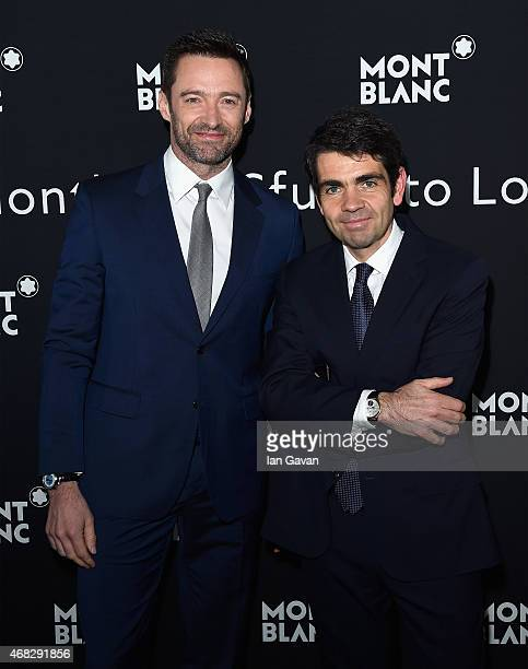 Actor Hugh Jackman and Montblanc CEO Jerome Lambert attend the Montblanc Meisterstuck Sfumato Launch on April 1 2015 in London England