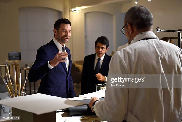 Actor Hugh Jackman and Montblanc CEO Jerome Lambert attend the Montblanc Meisterstuck Sfumato Launch on April 1, 2015 in London, England.
