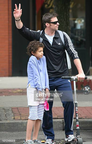 Actor Hugh Jackman and son Oscar Maximillian Jackman are seen leaving Bar Pitti restaurant in the west village on May 28 2010 in New York New York