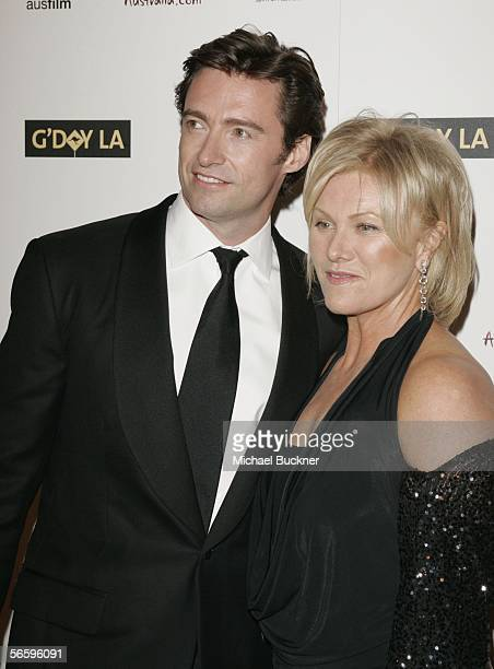 Actor Hugh Jackman and wife actress Deborra-Lee Furness arrive at the Penfolds Icon Gala presented by G'Day La: Australia Week 2006 at the Palladium...