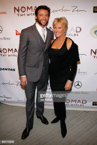Actor Hugh Jackman and Wife Deborra Lee Furness attend the Nomad Two Worlds Preview Exhibit at Donna Karan's Stephan Weiss Gallery on January 22 2009...