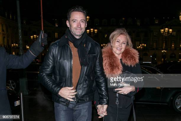 Actor Hugh Jackman and wife DeborraLee Furness are seen on January 16 2018 in Paris France