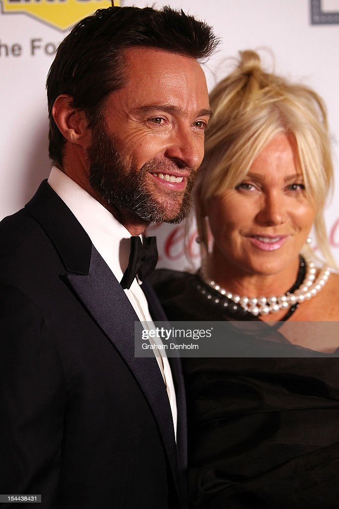 Actor Hugh Jackman and wife Deborra-Lee Furness arrive at the Fight Cancer Foundation's 20th Annual Red Ball on October 20, 2012 in Melbourne, Australia.