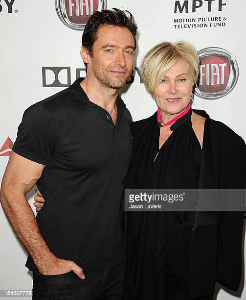"""Actor Hugh Jackman and wife Deborra-Lee Furness attend Hugh Jackman's """"One Night Only"""" benefitting the MPTF at Dolby Theatre on October 12, 2013 in..."""