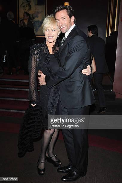 "Actor Hugh Jackman and wife Deborra-Lee Furness attend the Paris Premiere of ""Australia"" at the Gaumont Marignan cinema on December 1, 2008 in Paris,..."