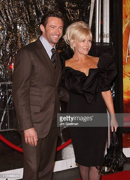 """Actor Hugh Jackman and wife Deborra-Lee Furness attend the premiere of """"Australia"""" at the Ziegfeld Theater on November 24, 2008 in New York City."""