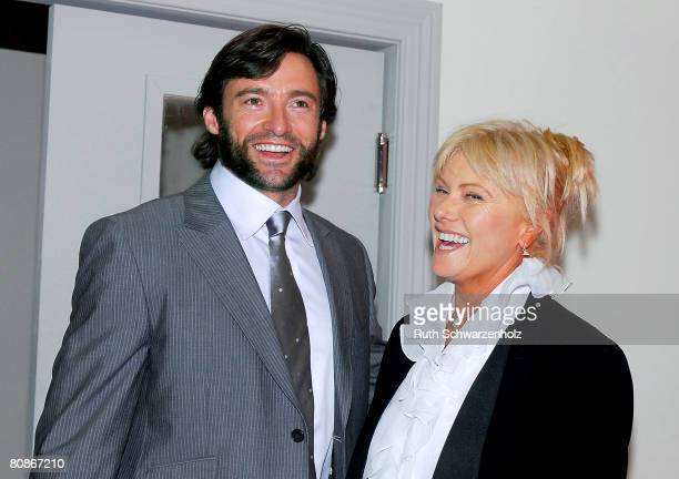 Actor Hugh Jackman and wife Deborra-Lee Furness pose at the Emirates Marquee on Emirates Doncaster Day at the Royal Randwick Racecourse on April 26,...