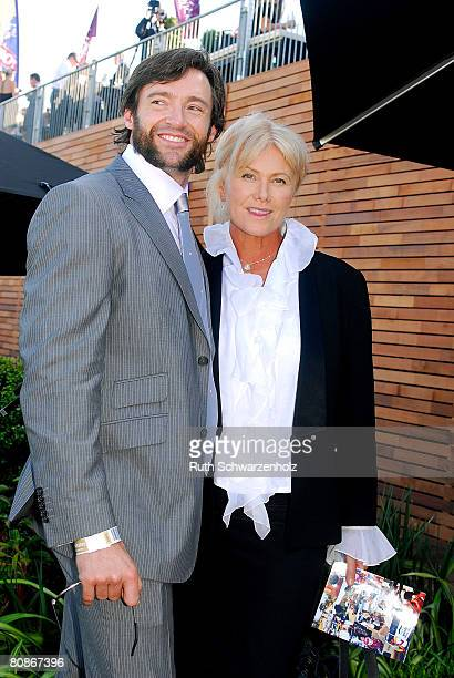 Actor Hugh Jackman and wife DeborraLee Furness pose outside the David Jones Marquee on Emirates Doncaster Day at the Royal Randwick Racecourse on...
