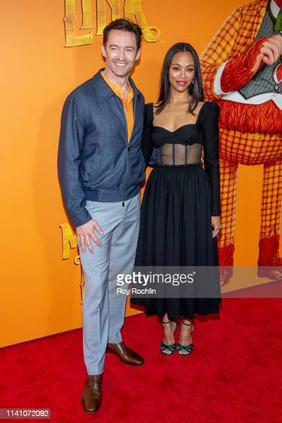 """Actor Hugh Jackman and Zoe Saldana attend the """"Missing Link"""" New York Premiere at Regal Cinema Battery Park on April 07, 2019 in New York City."""