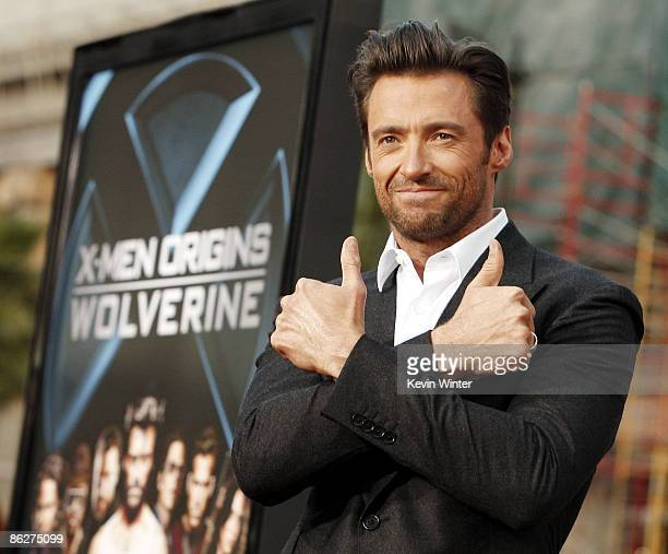 Actor Hugh Jackman arrives at the screening 20th Century Fox's XMen Origins Wolverine at the Chinese Theater on April 28 2009 in Los Angeles...