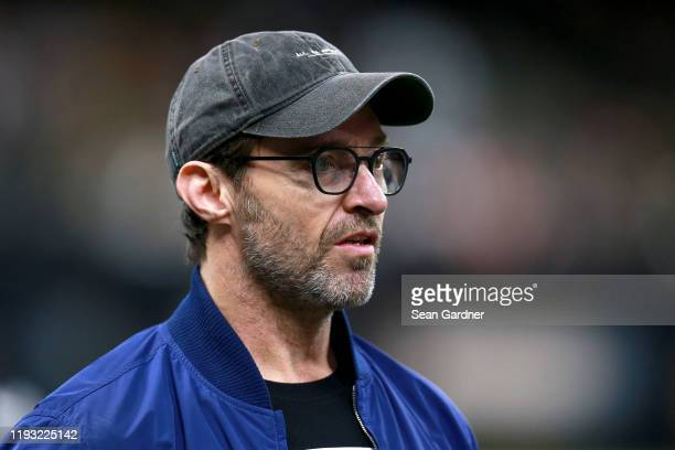Actor Hugh Jackman attends a NFL game between the San Francisco 49ers and the New Orleans Saints at the Mercedes Benz Superdome on December 08 2019...