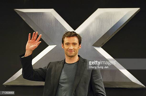 Actor Hugh Jackman attends a Photocall and Press Conference for the premiere of the movie 'XMen The Last Stand' on June 14 2006 in Seoul South Korea