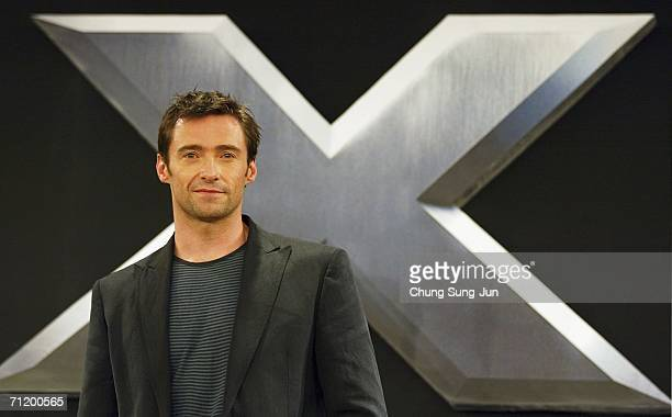 Actor Hugh Jackman attends a Photocall and Press Conference for the premiere of the movie 'X-Men: The Last Stand' on June 14, 2006 in Seoul, South...
