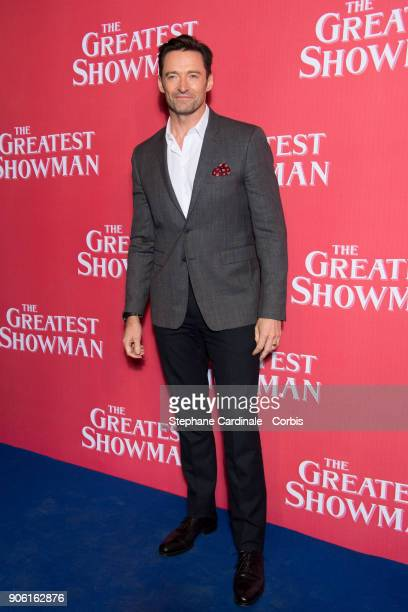 Actor Hugh Jackman attends 'The Greatest Showman' Paris Premiere at Gaumont Capucines on January 17 2018 in Paris France