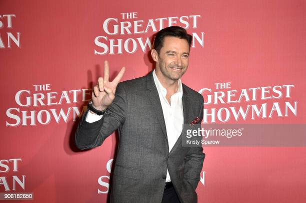 Actor Hugh Jackman attends the 'The Greatest Showman' Paris Premeire at Gaumont Capucines on January 17 2018 in Paris France
