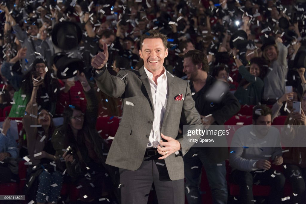 Actor Hugh Jackman attends the 'The Greatest Showman' Paris Premeire at Gaumont Capucines on January 17, 2018 in Paris, France.