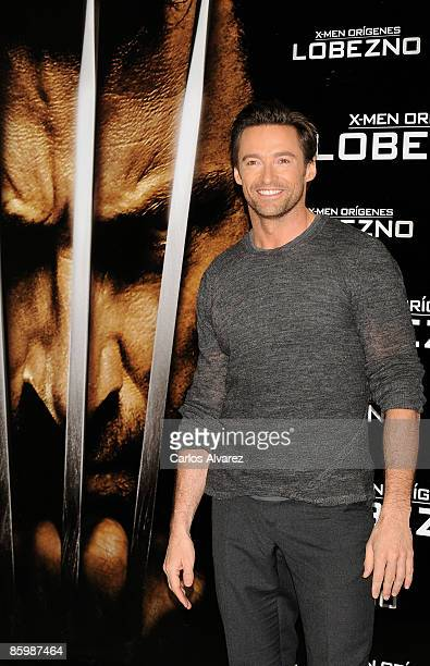 """Actor Hugh Jackman attends the """"X- Men Origins: Wolverine"""" photocall at the """"Puerta de Alcala"""" on April 15, 2009 in Madrid, Spain."""