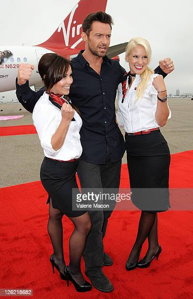 Actor Hugh Jackman attends Virgin America Unveils DreamWorks Pictures' Real Steel Plane With Hugh Jackman on September 23 2011 in Los Angeles...